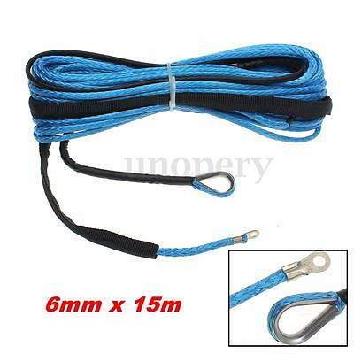6mm x 15m 6400 LBs For ATV Vehicle Synthetic Fiber Winch Line Cable Rope Blue