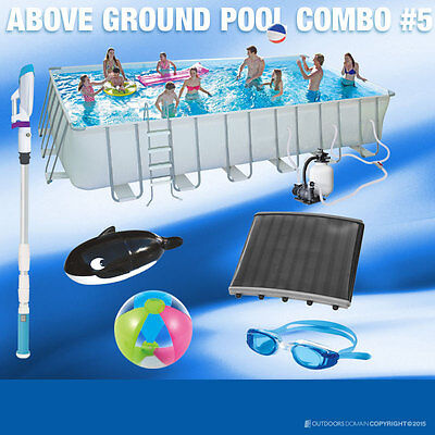 Swimming Pool 30700L Above Ground Rectangle Metal frame 396x670x132cm Solicepack
