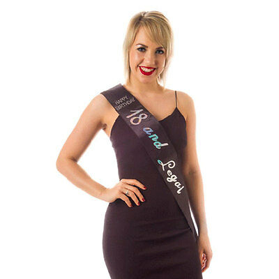 18 and Legal Black Happy Birthday Diamante Sash Perfect Night Out Accessory