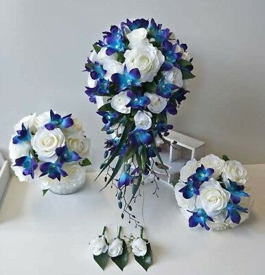Silk Wedding Bouquet Blue Orchid Light Teardrop Cream White Rose Roses Set