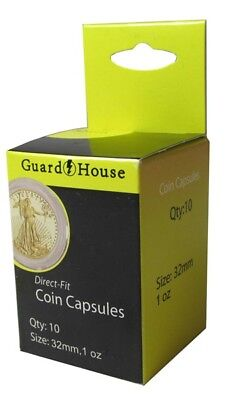 10 Pack Guardhouse 32.7mm 1 oz Gold Eagle Round Direct Fit Coin Capsules holders
