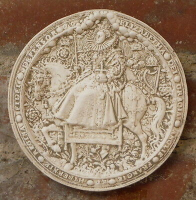Vintage Great Seal of Realm United Kingdom Queen Elizabeth I Wall Plaque RARE UK
