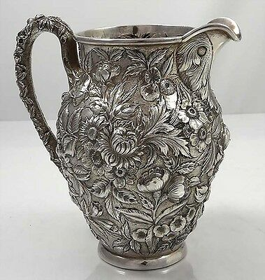 KIRK REPOUSSE Sterling Pitcher HAND DECORATED 27F