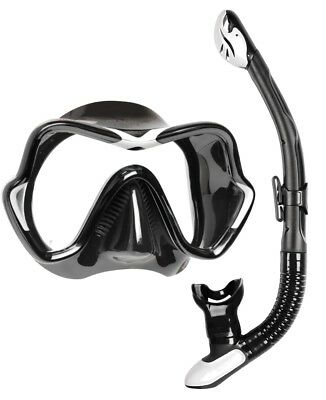 Mares Deluxe Snorkel Set - Silicone Mask and Silicone Dry Snorkel - BLACK WHITE