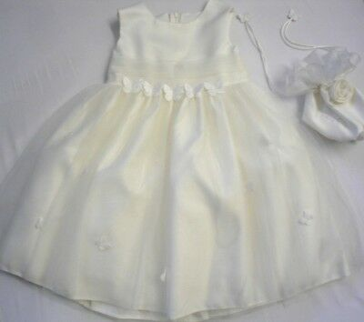Babies Childrens Girls Cream Dress Bridesmaid Christening Flower Wedding Bag