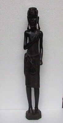 Vintage Old Hand Carved Unique Wood Carving African Tribal Man Statue Figurine