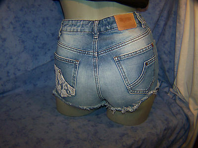 ZARA Jeans Shorts Hotpants, Sexy Shorts mit Spitze,Gr. 34 Used Look, Vintage !