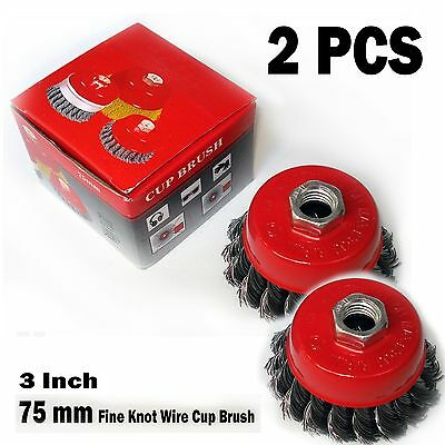 "New 3"" x 5/8"" 11 NC FINE Knot Wire Cup Brush Twist - For Angle Grinders Wheel"
