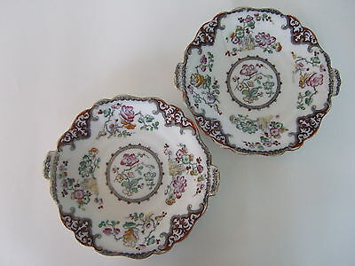 Pair antique Staffordshire dinner plates Charles Meigh in OLEASTER pattern 1835-