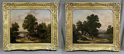 Pair of 19th Century Barbizon School Style  Landscapes Trees Ponds and Figures
