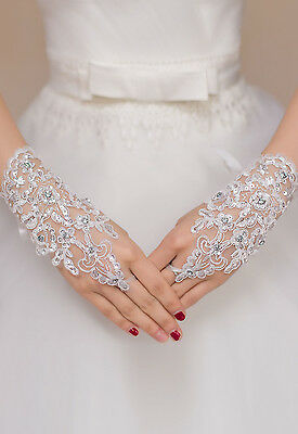 Off White Enchanting Lace Diamond Fishnet Gloves wedding Holy Communion Free P+P