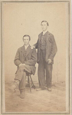 Cdv Portrait Of Two Affectionate Young Men W/ Posting Stand