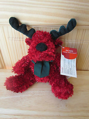 Russ Twinkle Bears From The Past Red And Green Sparkle Christmas Moose Nwt 8 In