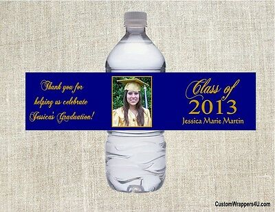 Graduation Graduate ANY COLOR YOUR PHOTO Party Favors Water Bottle Labels Custom
