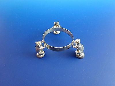 "Silverplate Small 1 1/2"" Diameter (Votive Holder?) Ring with 3 Frogs  (2870)"