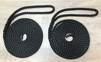 Mooring Ropes, Warps, Lines, Yachts/Canal 10mm - 14mm English Braids Pack of 2.