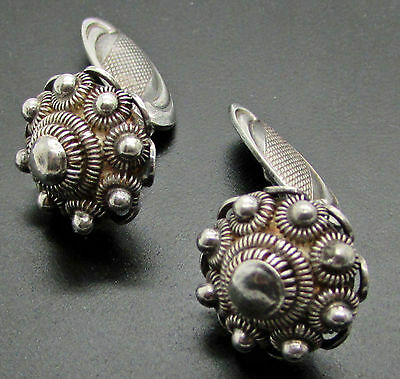 Antique Victorian Sterling Silver Cufflinks  Canetille Domed Etruscan 925