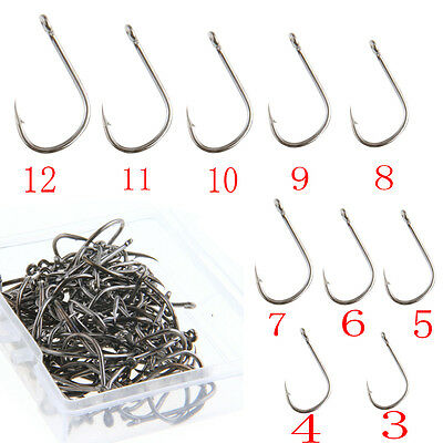 100Pcs 10-Size Sharpened Carbon Steel Fishing Lures Baits Hooks With Tackle Box