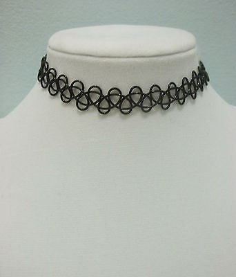 Tattoo Choker Stretch Necklace Black Gothic 90s Retro Punk
