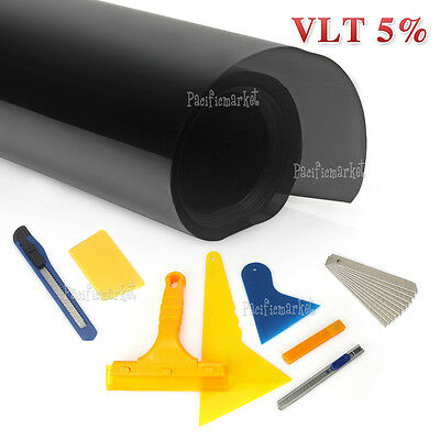 Home Car Window Tint Film Black 5% VLT 760mmx7m Roll + Window Tinting Tools Kit