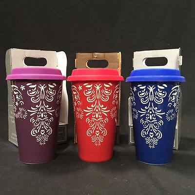 Purple Red Blue Laser Cut Reusable Porcelain Coffee Mug cup Silicone lid