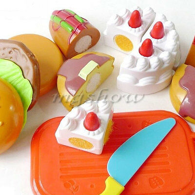 Cutting Birthday Party Cake Hamburg Slice Baby Kitchen Food Play House Toy