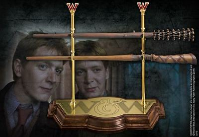 Harry Potter : WEASLEY TWINS WAND COLLECTION & STAND from The Noble Collection N