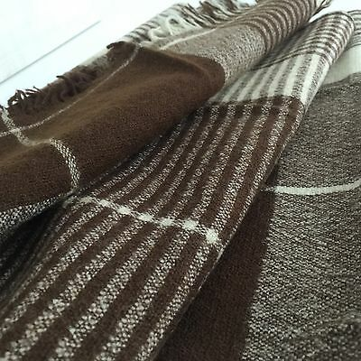 UNISEX Vintage Scarf WOOL Brown Checked WIDE 70's Bullocks Willshire LOOMTOQS