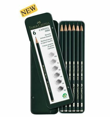 Faber-Castell Graphite pencil CASTELL 9000 Tin of 6 8B 6B 4B 2B B HB Sketching