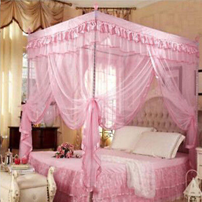 4 Corners Post Twin Bed  Princess Curtain Canopy Mosquito Netting  No Bracket