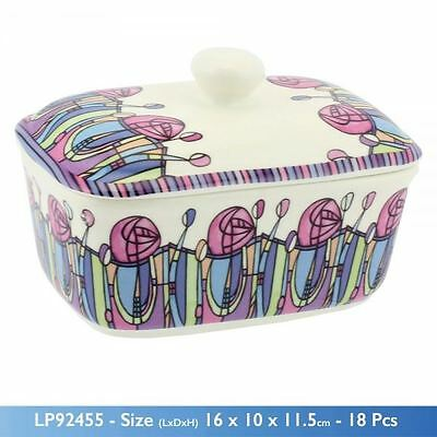 Mackintosh Theme Print Ceramic White Butter Dish Large Deep With Lid