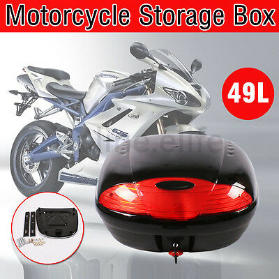 New 49L Motorcycle Universal Scooter Top Tail Box Rear Storage Luggage Two Keys