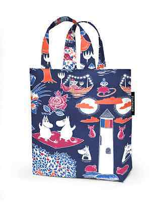 Moomin blue OIL CLOTH tote bag purse, blue Finlayson  for boy or girl, Finland