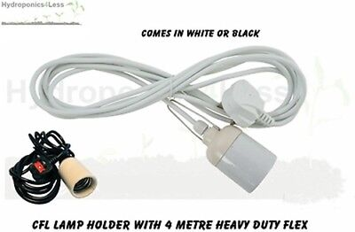 Lamp Cable Hanger with UK Plug E40 fitting 4 Metre cable For CFL 100 to 500w