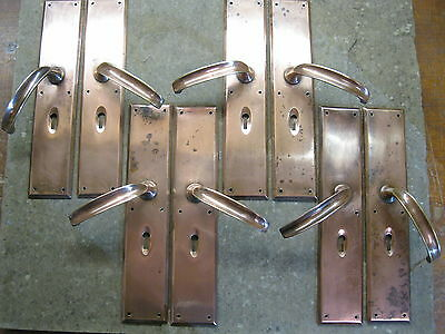 4 Pairs of Original Reclaimed Copper Plate Lever Handles 2002