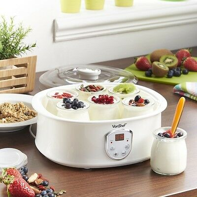 Digital Yoghurt Maker Healthy Homemade LCD Control Panel 7 Pots Kitchen NEW