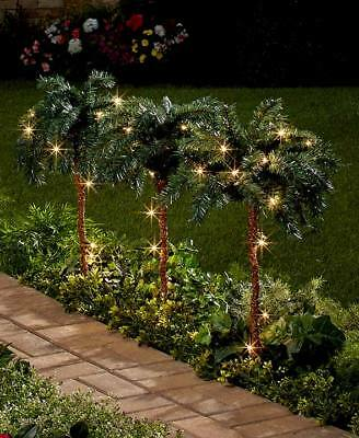 Lighted Palm Trees Indoor Outdoor Tropical Pathway Lights Garden Yard PRE-LIT
