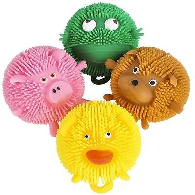 (4) Animal Critter Puffer Balls Squeezable Stress Balls Tactile Play