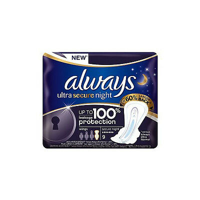 Always Ultra Secure Night Sanitary Towels with wings Single Pack x 9 pads