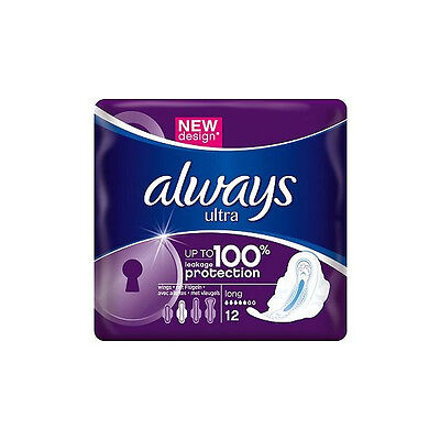 Always Ultra Long Plus Sanitary Towels with wings Single Packs x 12 pads