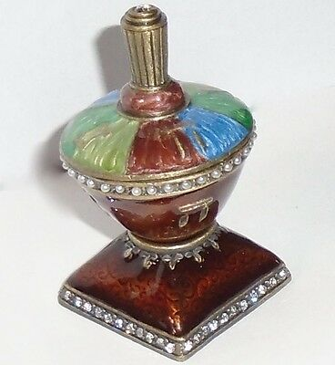 Dreidel and Stand Jeweled / Jewelled- Enamel and Pewter - Mint condition -
