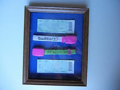 """Shadowbox """"COLDPLAY"""" 2012 Ticket Stubs {2} & Show Interactive Wristbands {2}"""