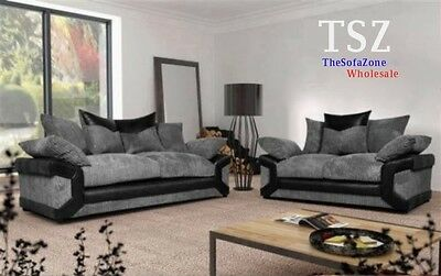 Brand New Amy Fabric & Leather Corner & 3+2 Sofa Suite