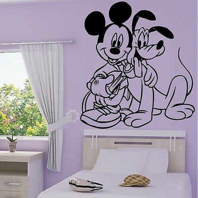 Stickers Mural Mickey Mouse et Pluto - Choix taille et couleur