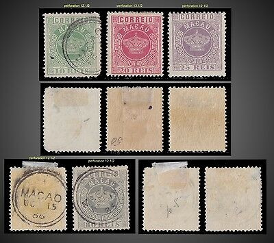 1885 Portuguese Macao Portuguese Crown Lot Mint Hinged Used  Perf 12-13.1/2
