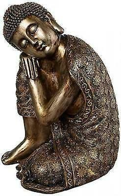 "Reclining Buddha Statue 14.5"" Tall Sleeping Meditating Brushed Gold Finish Resin"