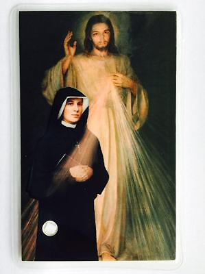 St Faustina Kowalska relic card Apostle Divine Mercy from Polish Nuns in ENGLISH