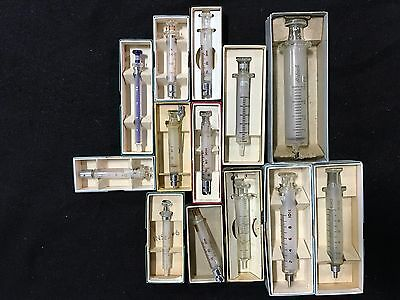 13 Glass Syringes in boxes 2cc -20cc
