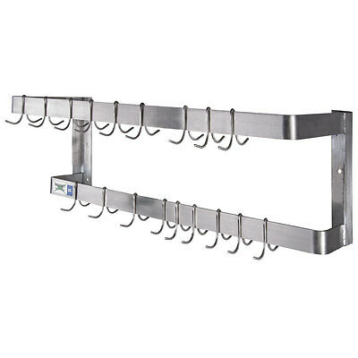 """36"""" NSF Wall Mounted Restaurant Stainless Steel Double Line Pot Rack with Hooks"""