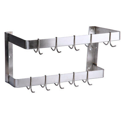 """24"""" NSF Wall Mounted Restaurant Stainless Steel Double Line Pot Rack with Hooks"""
